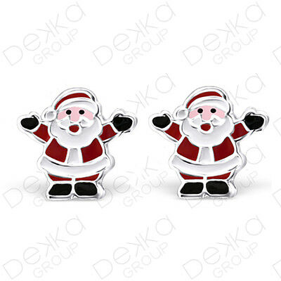 925 Sterling Silver Santa Father Christmas Stud Earrings Studs Childrens Women