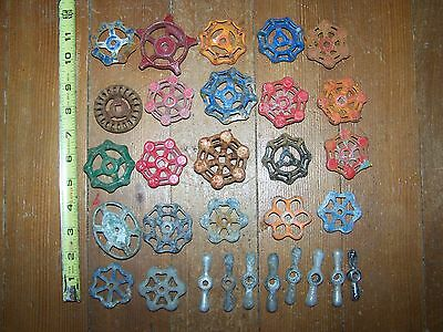 30 Vintage Salvaged Cast Water Valve Handles STEAMPUNK Industrial 2 3/4""