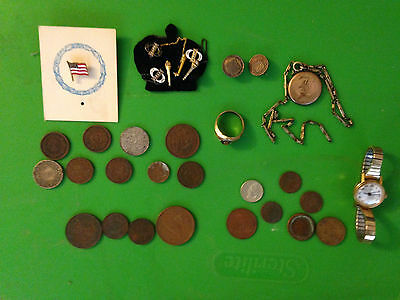 Lot of Old Coins, Jewely, Tokens 30+ Pieces!