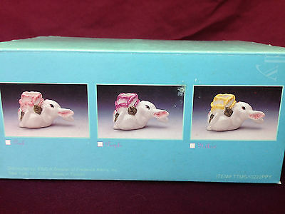 EASTER Bunny Candle holders SET of 3 Ceramic