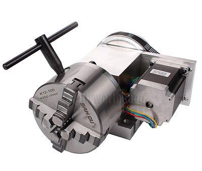 Hollow Shaft 4th Axis CNC Router Rotational A Axis 4 Jaw Φ100mm Chuck Engraving