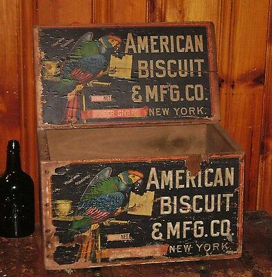 ANTIQUE 1890s AMERICAN BISCUIT PARROT WOOD BOX CRATE GINGER SNAPS