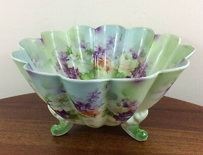 Stunning Antique Footed Bowl, Tiefenfurt, Silesia, Green & Purple