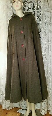 VINTAGE BANANA REPUBLIC Green Gray One Size Cape Cloak 80s Wool Military Hooded