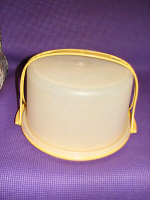 Tupperware Sheer Round Cake Carrier #684 With Handle #624 & Gold Base #683