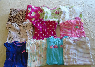 Used 11 PC. LOT OF NEWBORN BABY GIRL CLOTHES/SLEEPERS 0-3 MONTHS EUC/VGUC