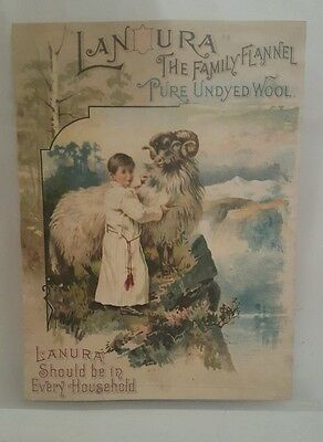 """1892 Lanura Pure Undyed Wool Color Print Ad Antique 9.5""""×7"""""""