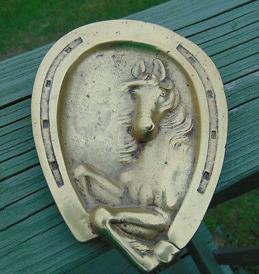 Unique Horse Shoe Shaped Solid Brass Tray Cowboy Home Decor Equestrian Western