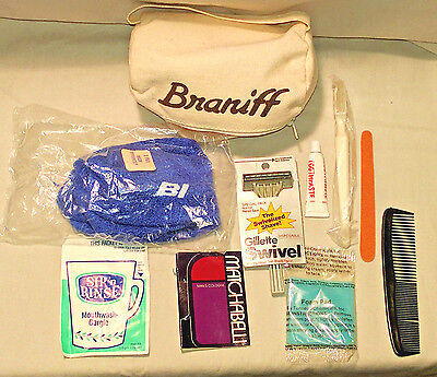 Vintage Braniff Airlines First Class Canvas Amenities Bag Classic Collectible