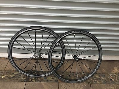 Fulcrum 1 wheelset, campagnolo 10 speed cassette. Well used.