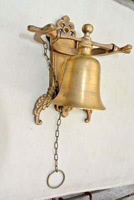"""Front Door Bell pull chain solid aged brass old vintage style 6 """" hang NICE"""