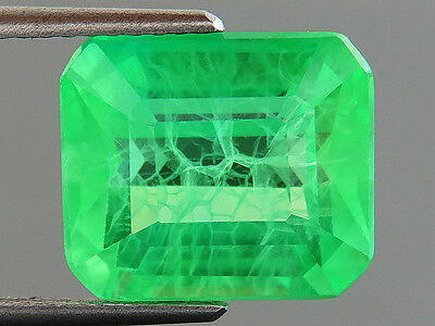 9.80ct Lab-created COLUMBIAN EMERALD CHATHUM OCTAGON INDUCED INCLUSION 10.4 x 12