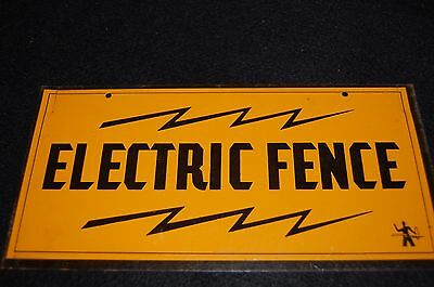 "Vintage ELECTRIC FENCE Farm Ranch Cattle Tin Sign lightning bolts 8"" x 4"" yellow"