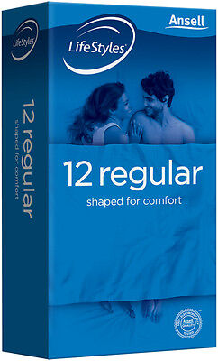 12 x Ansell LifeStyles® Regular Condoms (1 x 12 pack) DISCREET DELIVERY