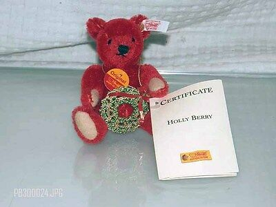 Steiff Holly Berry Christmas Ornament Limited Edition #00063 Mint No Box