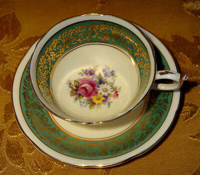VINTAGE PARAGON TEA CUP & SAUCER FLORAL with PINK ROSE IN GREEN GOLD TRIM