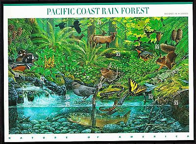 US NATURE 2009 SCOTT #3378 PACIFIC COAST RAIN FOREST 10 MINT VF 33c STAMP SHEET