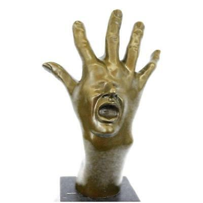 Original Abstract Hand With Face Bronze Sculpture Statue Figurine