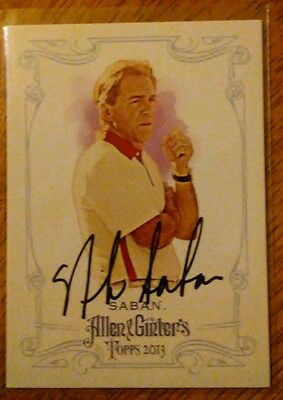Nick Saban signed 2013 Topps Allen Ginter Alabama BAMA football
