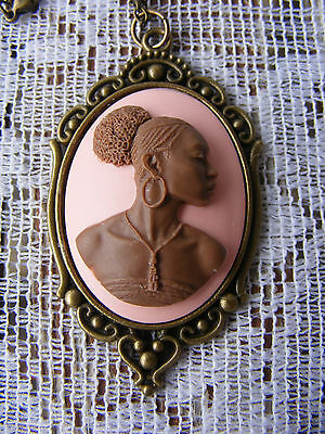 African Lady Cameo Ethnic Heritage Pendant Necklace Antiqued Gold Kwanzaa Gift