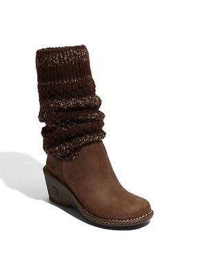 UGG Women's US 8 Cresthaven Knit & Shearling Wedge Heel Knee High Boot