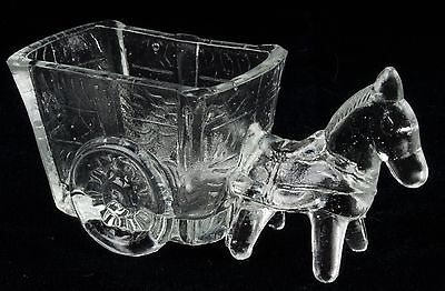 DONKEY Pulling CART Vintage CLEAR Press GLASS Toothpick HOLDER Candy NUT Dish