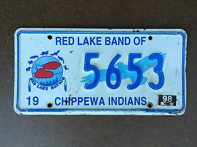 Red Lake Band of Chippewa License Plate - 5653 - 1998 expiration tag