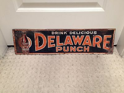 Delaware Punch Embossed Tin Sign Pop advertising Rare 1920's USA