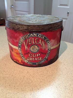 BA British American Oil Grease Tin Can 5 Lb Rare Vulcan collectible advertising