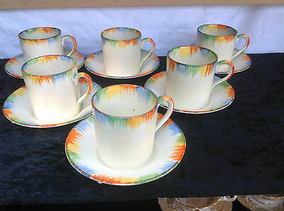 1930S Art Deco Grindley Chameleon Coffee Set - 6 Cups/cans & Saucers