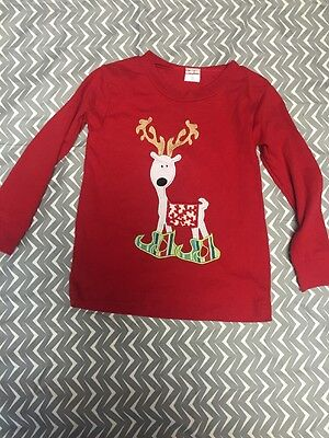 La Jenns Shirt Red Long Sleeve Reindeer Christmas Holiday 2T Euc