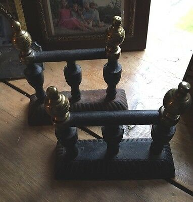 Antique Fire Dogs Cast Iron & Brass