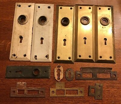 Vintage Lot of Salvage Door Plate Backplates Key Plates Mortise Plates 12 Pieces