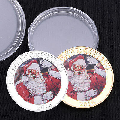 Christmas Santa Claus Gold /Silver Commemorative Coins Xmas Gift Fashion