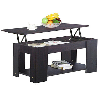 New Espresso Lift Up Top Coffee Table with Storage & Undershelf Occasional Table
