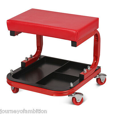 Red Rolling Creeper Seat Mechanic Chair Repair Tools Tray Shop Auto Car Garage