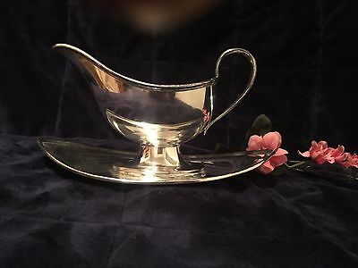 Antique Charles Howard Collins Silver Plate Gravy Boat w/Undertray