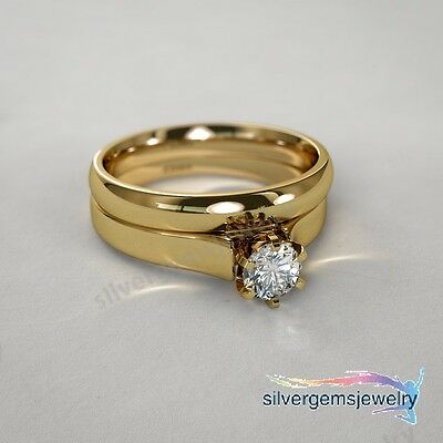 Round Cut Diamond Bridal Set And 14K Yellow Gold Engagement Ring Wedding Band