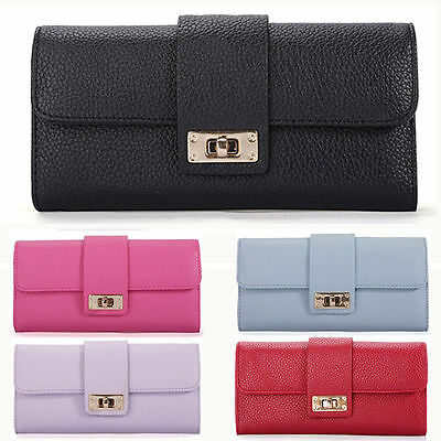 Fashion Women's Long Purse Card Holder Clutch Ladies PU Leather Wallet Phone Bag