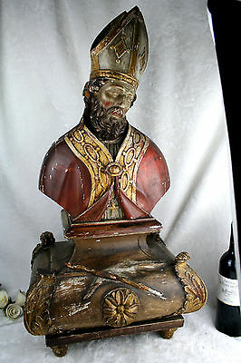 """XL 32,3"""" Antique Polychrome wood carved Bishop Saint religious Buste statue 19th"""