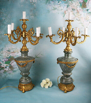 A PAIR 62 lbs  empire  LOUIS XVI MOUNTED GREEN GRANITE 5-LIGHT CANDELABRA