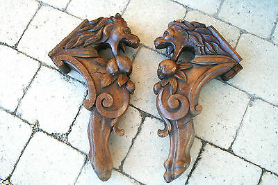 PAIR antique Wood carved DRAGON Chimaera gothic cabinet ornaments 1880 circa