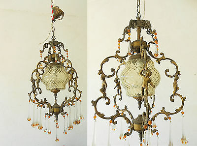 Antique VTg French amber coloured Putti cherub angels chandelier 5 arms