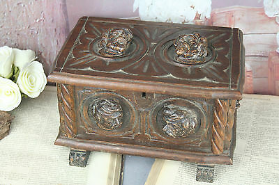 Swiss Black forest design Wood carved Box man heads 1930 French lion paws
