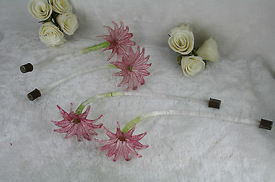 SET 4 Venetian Murano glass pink green flower chandelier replacement spare part
