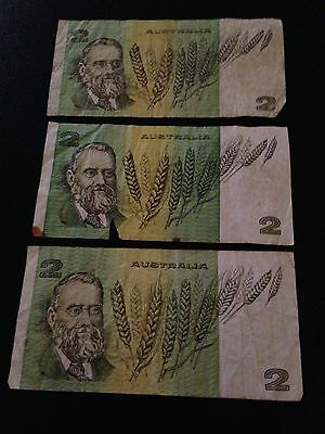 3x $2 notes Australian poor condition well circulated