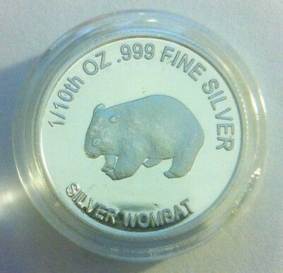 "1/10th Oz 999.0 Pure Silver Bullion Coin, ""Wombat"" (Aust Series) 14 to Coll"
