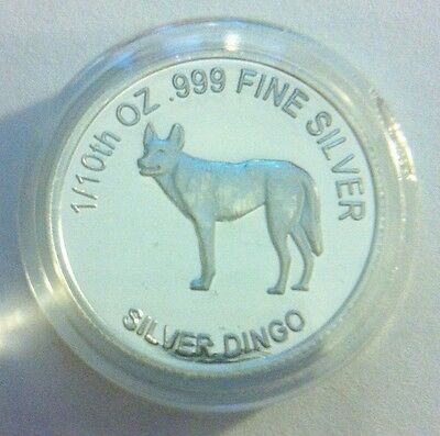 "1/10th Oz 999.0 Pure Silver Bullion Coin, ""Dingo"" (Aust Series) 14 to Coll"