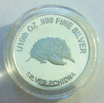"1/10th Oz 999.0 Pure Silver Bullion Coin, ""Echidna"" (Aust Series) 14 to Coll"