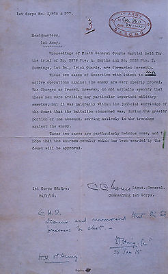 World War I Deserter's Court Prosecution and Defence Papers Court Marshall Army